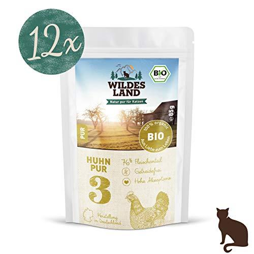Wildes Land | Nassfutter für Katzen | Nr. 3 Huhn PUR | Bio | 12 x 85 g | Aus kontrolliertem biologischen Anbau | Getreidefrei | Extra viel Fleisch | Beste Akzeptanz und Verträglichkeit | Rohstoffe aus der Lebensmittelproduktion | Hergestellt in Deutschland