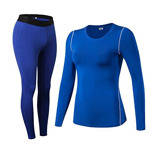 Damen Thermo-Unterwäsche Set Stretch lang Hemd + lang Hose U-Außchnitt Funktionswäsche Skiunterwäsche Set