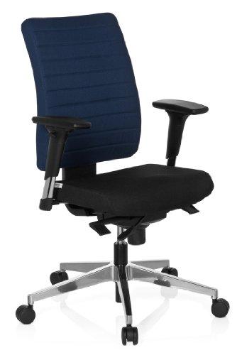 hjh OFFICE 608815 Bürostuhl Drehstuhl PRO-TEC 350 Stoff schwarz blau, Bürodrehstuhl ergonomisch, extrem robuster Stoff, Rückenlehne höhenverstellbar, verstellbare Armlehnen, Schreibtischstuhl