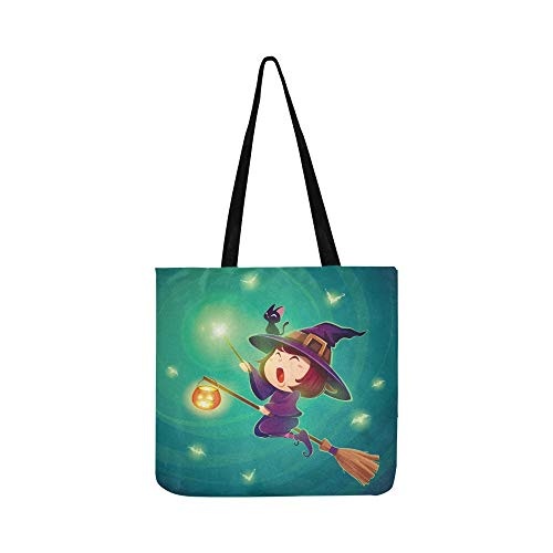 kleine hexe mädchen kind leinwand tote handtasche umhängetasche crossbody taschen geldbörsen für männer und frauen einkaufen tote ()