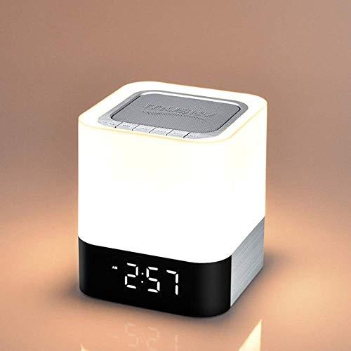 MISJIA Touch-Backen-Lampe mit drahtlosem Bluetooth-Lautsprecher, tragbare intelligente LED-Touch-Sensor-Schreibtischleuchte dimmbares RGB-Multiolor-Nachtlicht, 1 in 1 Wecker, MP3-Player