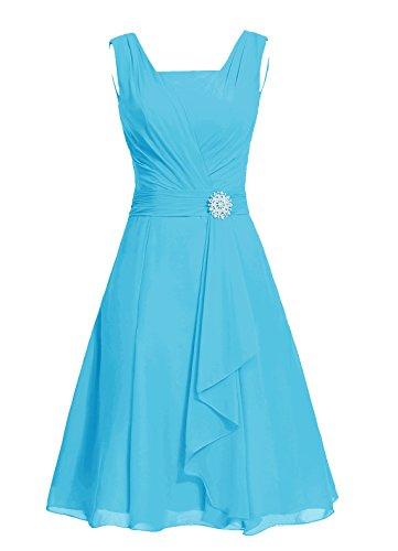 Dresstells, robe courte de demoiselle d'honneur mousseline col carré Bleu