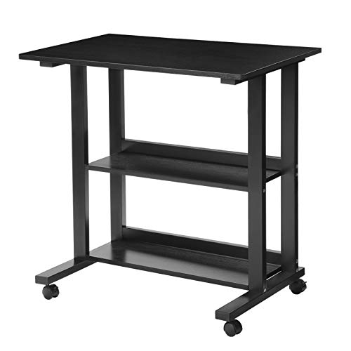 SONGMICS Computertisch PC Tisch mit Ablagen und Rollen, kompakter Schreibtisch Einfache Montage, 80...