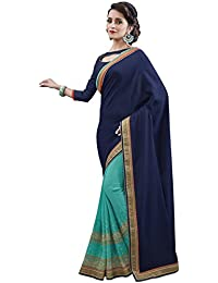 SareeShop Women's Georgette Half And Half Fancy Party Wear Saree With Blouse Piece (115_Blue & Cyan_Free Size)