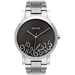 Rakani What Time? 40mm Silver on Titanium Watch with Stainless Steel Band