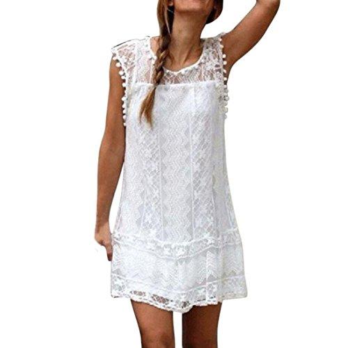feiXIANG frauen locker spitze kleider strand Hemdkleid Damen kurzen kleid tassel mini - kleid Sommer Ärmelloses rockkleid O-Ausschnitt Shirtkleid (M, Weiß) (Eine Linie Der Arbeit Kleider Für Frauen)