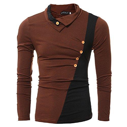 BOMOVO Herren Freizeit Spleiß Langarm T-Shirt Shirt Henley Slim Fit Braun