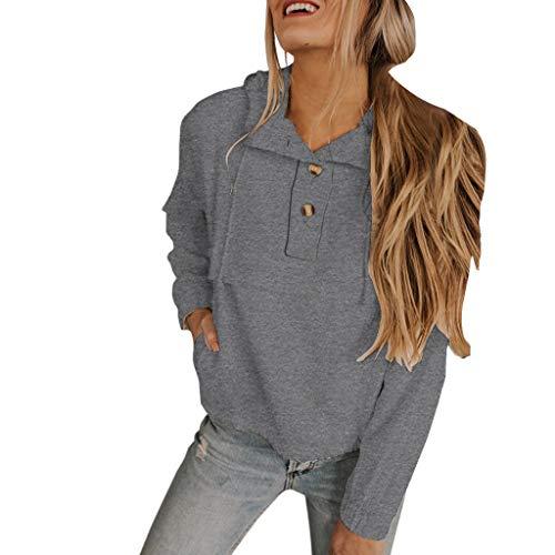 Muyise Damen T-Shirt Tops Hoodie Langarmshirts Beiläufige Lose Große Größen Frauen Kurzes Sweatshirt Einfarbig Knopfkragen Langarm Bluse Oberteile Kordelzug Kapuzenpullover (Grau,M) -