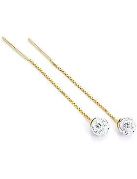 9 Karat (375) Gold mit Klarem Cubic Zirkonia Kristall 5mm Kugel Durchzieher Ohrringe