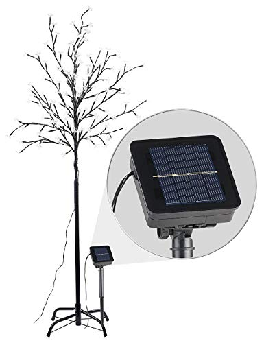 Lunartec Solar LED Bäume: Solar-LED-Lichterbaum mit 120 leuchtenden Blüten und Standfuß, 150 cm (Solar Blumen-Baum)