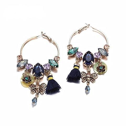 eManco Big Hoop Handgemachte Ethnische Drop baumeln Ohrringe für Frauen Persönlichkeit Elegant Charm Modeschmuck