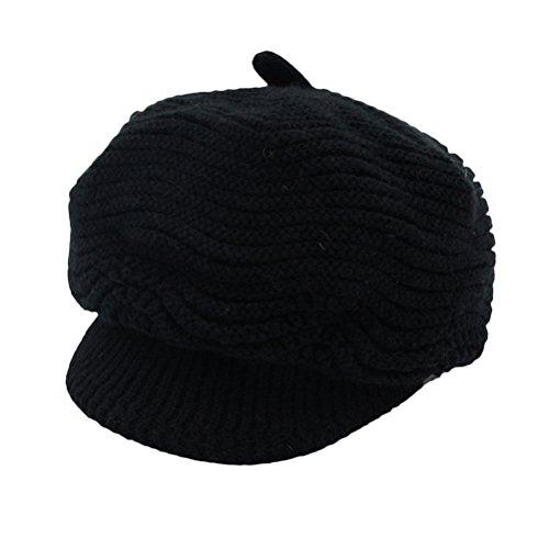 Zhhlinyuan Damen Girl Fashion Classic Wool Strickmützeted Warm French Style Peaked Baskenmützen Barett Hut Flat Caps für Ladies (Brim Full Hut)