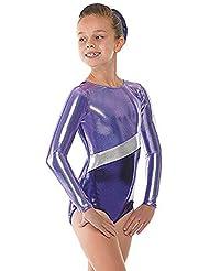 Tappers & Pointers - Traje de gimnasia rítmica para niña, color azul y plateado morado morado Talla:9-10 años