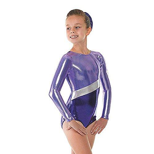 Tappers & Pointers - Traje de gimnasia rítmica para niña, color azul y plateado morado morado Talla:medium 6-8 años