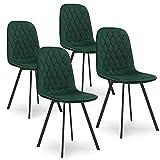 Mobilier Deco Lot De 4 Chaises en Tissu Vert Velours Livio
