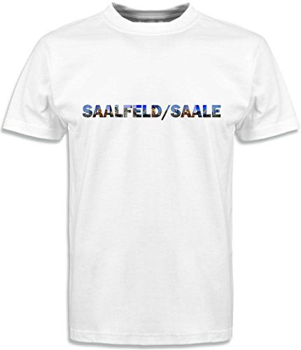 T-Shirt mit Städtenamen Saalfeld Weiß