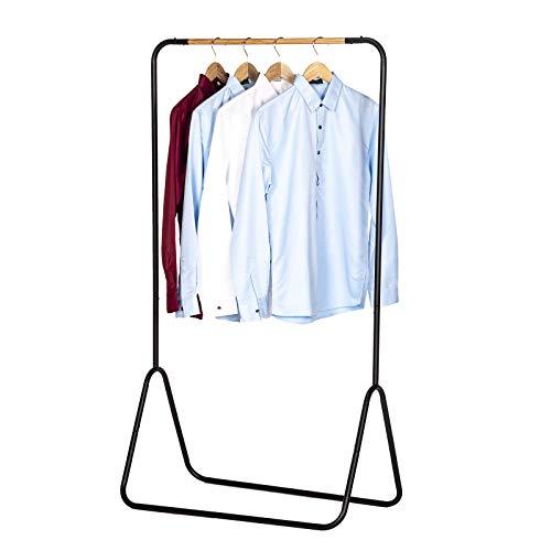 WOLTU Kleiderständer Garderobenständer Kleiderstange Metall, Schwarz, ca. 79x43x145cm(BxTxH) SR0076sz