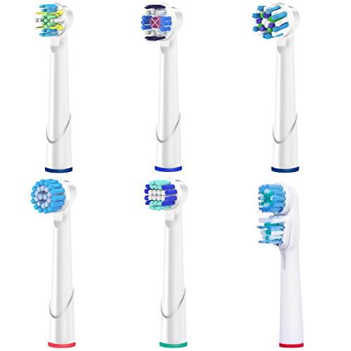 ITECHNIK Aufsätze für Oral B mit EB17 Sensitive EB18 3DWhite EB20 Precision Clean EB25 Tiefenreinigung EB50 CrossAction SB417 Dual Clean im Box 6er pack von Verschieden Modell, Ersatz Zahnbürstenköpfe