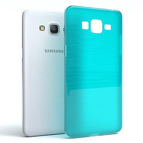 Samsung Galaxy Grand Prime Hülle - EAZY CASE Ultra Slim Cover Handyhülle - dünne Schutzhülle aus Silikon in Transparent Brushed Hellblau