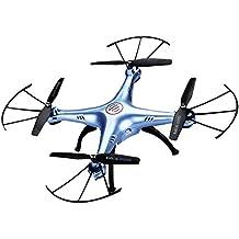 Syma X5HW - Drone Quadcopter RC Wifi FPV Barómetro 6 Axis Gyro (Luz de LED, Sin Cabeza, Cámara 720P, 4 Canales, 2.4GHz, 360 ° Tirones, Vuelo Nocturno) (Azul)