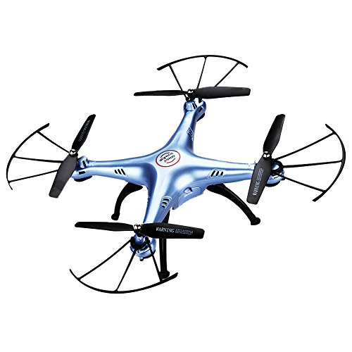 Syma X5HW 2.4G 4CH RC Quadrocopter Drohne (0.3MP HD Kamera, Wireless FPV Echtzeitübertragung, Enfold up-Be in unfailing, 360°3D Flips Eversion, Headless-Modus, Built-in 6-Achsen Gyro, LED Licht) Blau