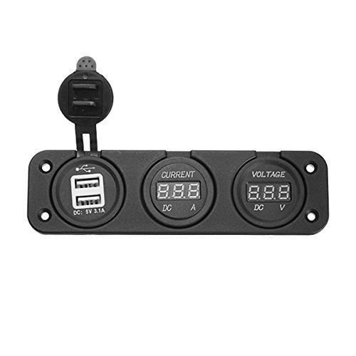 AAlamor 12V/24V Auto Moto 3 in 1 Volt Meterr Digitale Amperometro USB Caricabatteria da Auto Presa