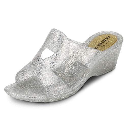Peep Toe Lässig Slip (CLLTX Damen Outdoor Freizeit Wedge Flip Flop Indoor Home Slip Fashion Flip Flop Bequeme atmungsaktive Open Toe Strand Sandalen (Size : 7.5us))
