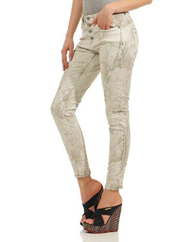 ZARMEXX Chino Jeans donna Denim Stretch Pantaloni Baggy Skinny Pantaloni da donna con bottone Front Vintage Tube Hipsters Slimline 567M (XS - XL) Beige