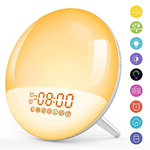 [Upgraded] Wake Up Light Lichtwecker Radio Wecker LED Nachtlicht Kinder mit Sonnenaufgang Sonnenuntergang Simulation/2 Alarme/Snooze/Schlafhilfe/7 Wecktöne/FM Radio/20Helligkeit/16Volumen Einstellbar