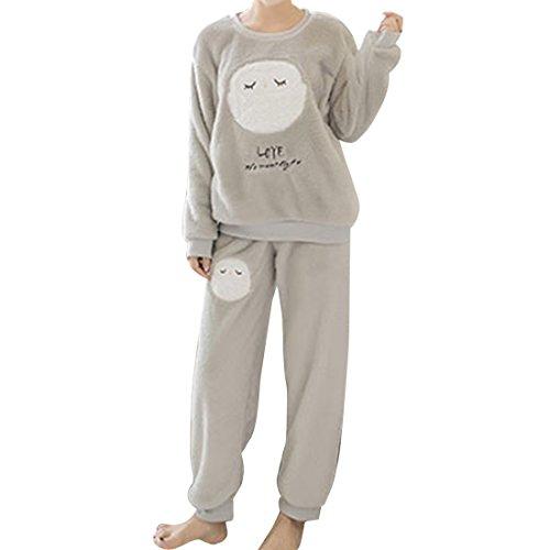 GWELL Damen Pyjama Eule Motiv Schlafanzug Set Flanell Zweiteiliger Langarm Nachtwäsche Winter grau XL