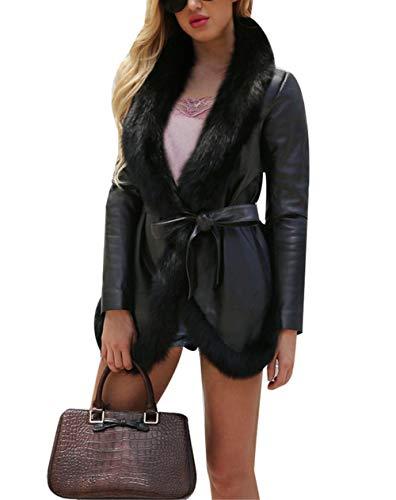 Aceshin Damen Pelzmantel Schwarz Felljacke Warm Faux Jacket Plüschjacke Langärmelige Winter Mantel Einfarbig Jacke Outwear Kurz Coat mit Gürtel