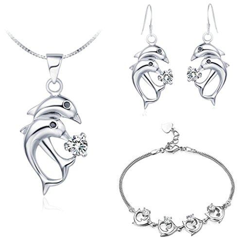 AieniD Conjunto de Collar y Pendientes Chapado en Plata Joyas de Moda Con Circonita Delfín
