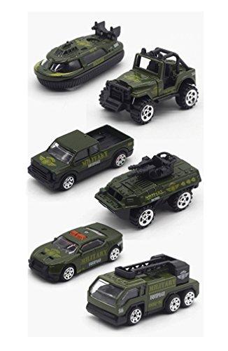 Horbous army lega modelli di veicoli giocattoli auto, mini esercito giocattolo serbatoio, jeep, panzer, camioncini, ecc 6 pezzi impostare la scala del modello dell'automobile 1:64 (camion militari)