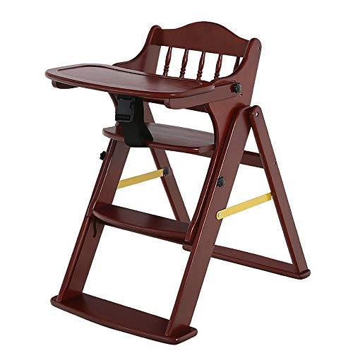 QKL Stühle Massivholz Verstellbarer Babyhocker/Kinder Esszimmerstühle/Multifunktions-Klapphocker (3 Farben optional) Hocker (Farbe: Walnuss),Braun