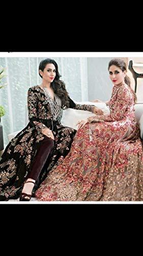 ETHNIC EMPORIUM Damen Bollywood Kareena Netto-Long-Kleid-Kleid-Partei-Cocktail Hochzeit Schwere Moslemische indischer Abaya 4 Pfirsich (Netto-long-kleid)