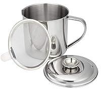 Wish - Recipiente de grasa y aceite de cocina de acero inoxidable con filtro de malla
