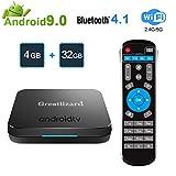 Greatlizard KM9 TV Box Android 9.0 4GB DDR4 32GB BT4.1 Dual WiFi 2.4G + 5G Smart Core 4K Smart TV Media Box