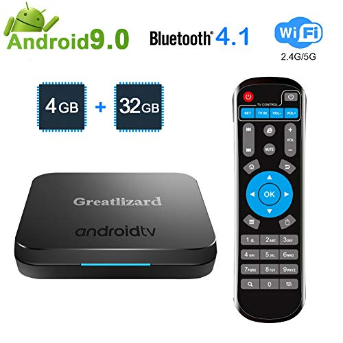 Greatlizard KM9 TV Box Android 9.0 4GB DDR4 32GB BT4.1 Dual WiFi 2.4G+5G Quad Core 4K Smart TV Media Box