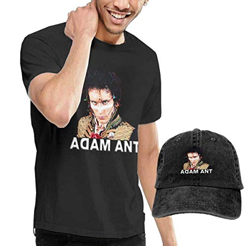 Herren Kurzarmshirt Mens Funny Adam and The Ants T Shirts and Washed Denim Hat Casquette Black (Xxl Redsox-shirt)