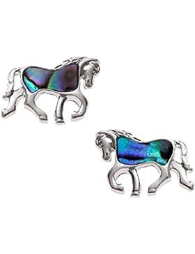 Abalone Paua Muschel Bellamira Pferd Ohrstecker Silber vergoldet eingelegten mit Shades of Paua Muschel Schmuck...