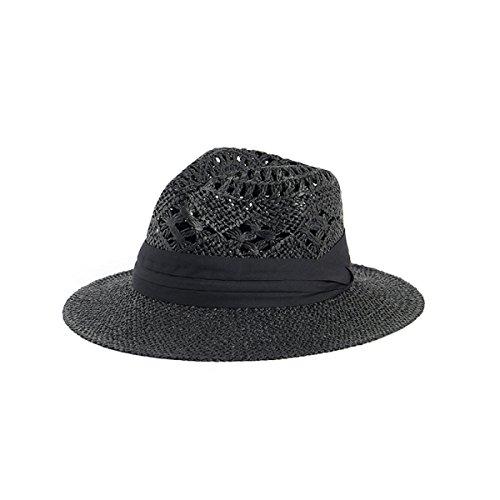 Mme été Chapeau De Paille à La Main Chapeau De Soleil Chapeau Creux Sauvage Chapeau De Plage De Sable Black