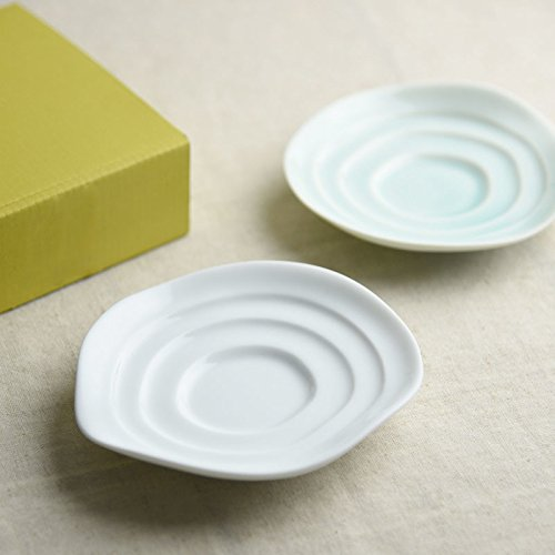 Miyama Minoyaki haas piattino per Salsa di Soia,Alimentari, ecc... Bianco & Blu Verdastro!!! dal Giappone