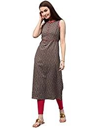 [Sponsored]Jaipur Kurti Women's Cotton A Line Long Kurta With Front Placket (Brown)