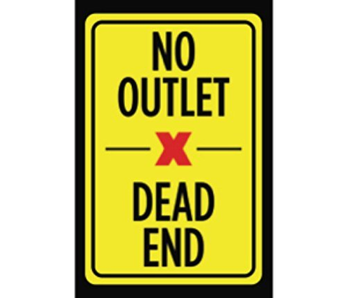 Schild mit Aufschrift No Outlet Dead End, gelb, schwarz, rot, Bild Symbol, Hinweisschild, Straße, Außenschild, 25,4 x 17,8 cm