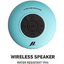 SBS Speaker 3W con ventosa, tasti per musica e chiamate, microfono integrato e vivavoce, protetto dall'acqua per utilizzo in doccia, bagno, piscina e cucina, colore azzurro