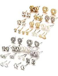 Shining Diva Fashion 24 Pairs Combo Set Latest Stylish Crystal Pearl Stud Earrings for Women (Gold Silver) (cmb291_10868_10869)
