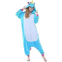 Unicornio PYJAMAS Disfraz Jumpsuit–Carnaval Cosplay Animales Dormir Traje Onesize adultos unisex azul S