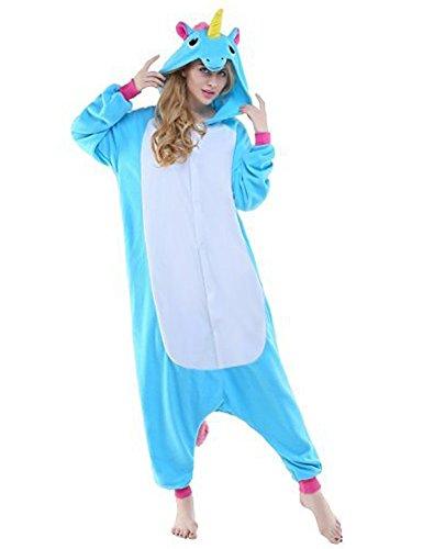 Einhorn Pyjamas Jumpsuit Onesies Erwachsene Unisex Kigurumi (Medium, Blau)