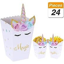 YANGTE 24 Piezas de Palomitas de maíz Caja de bocadillos Arco Iris patrón Unicornio Caja de