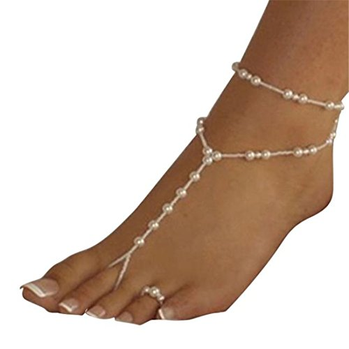 Malloom® Frauen Strand Imitation Perle Barfuß Sandelholz Fußschmuck Fußkettchenkette (Sandalen Zehenring Kleid)